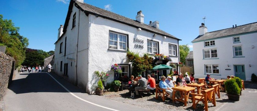 Cartmel village square and the Kings arms pub