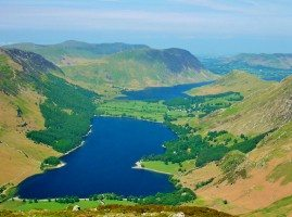 Aerial view of Buttermere & Crumock Water
