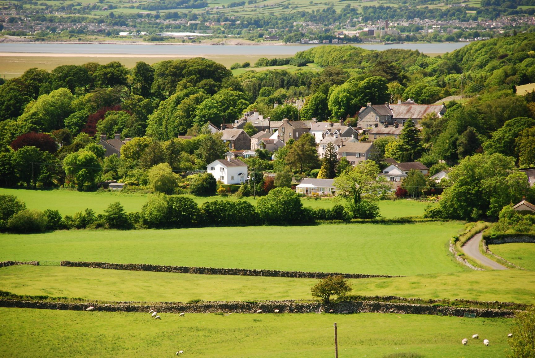 View of Cark in Cartmel in summer