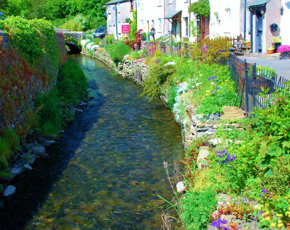 Cark in Cartmel Village and the River Eea