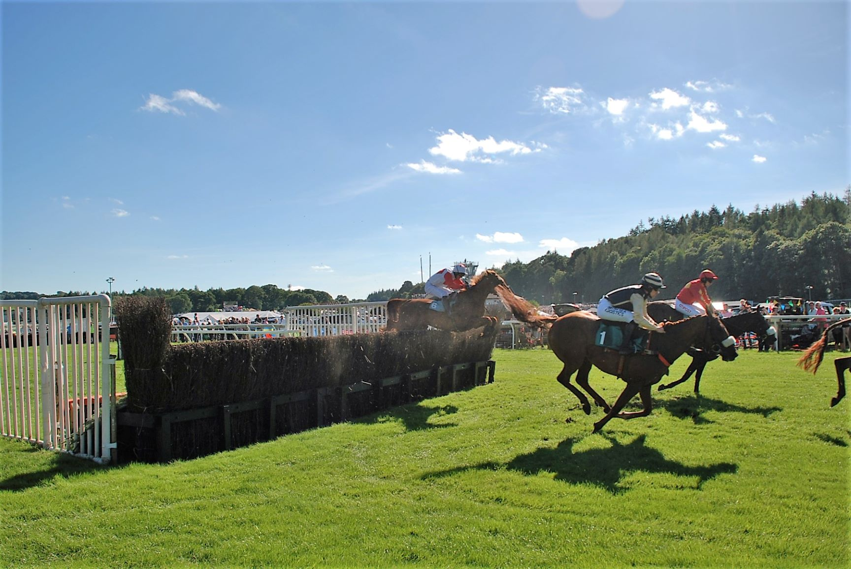 Jumping the fences at Cartmel Races