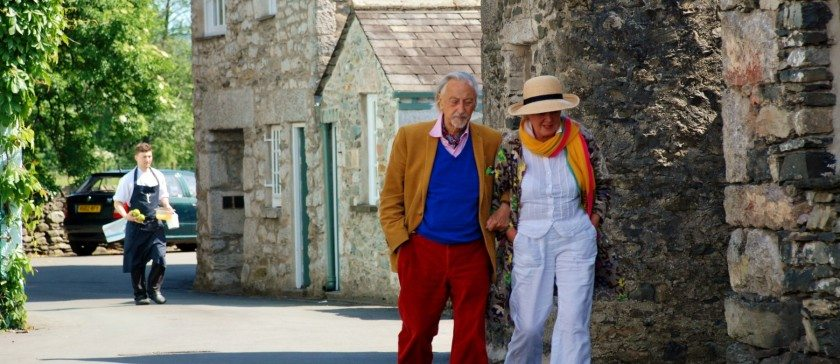 Image of Couple walkin past L'Enclume in Cartmel