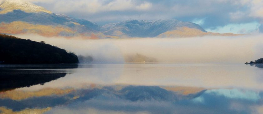 Misty morning on Coniston Water in Winter