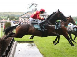 Horses jumping the hurdles at Cartmel Races