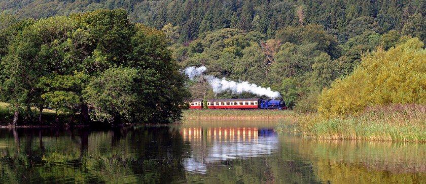Haverthwait steam train alongside Lake Windermere