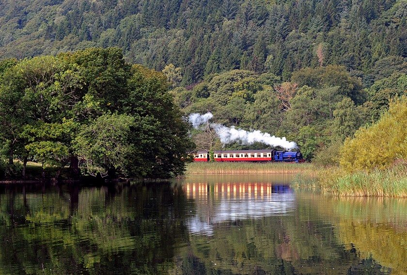 Haverthwait steam train alongside Lake Windermere