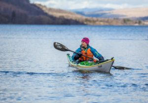 Lisa canoeing in the Lake District
