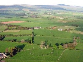 Aerial view of Long Meg and her daughters