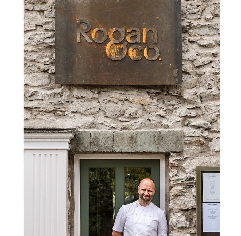 Simon Rogan outside his Cartmel staurant