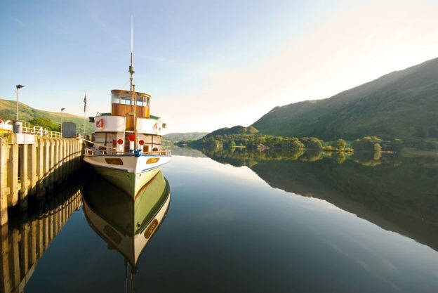 Stunning image of the Ullswater Steamer on the lake