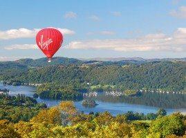 Virgin Balloon flying over Lake Windermere