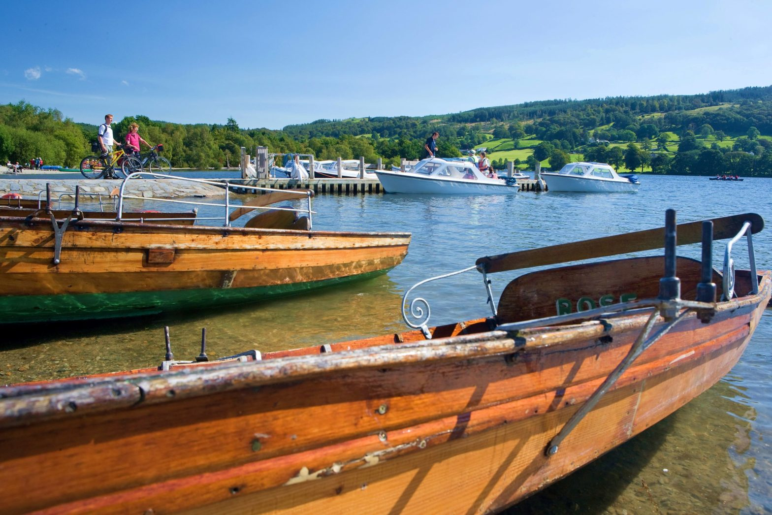 Boats on Lake Windermere in summer