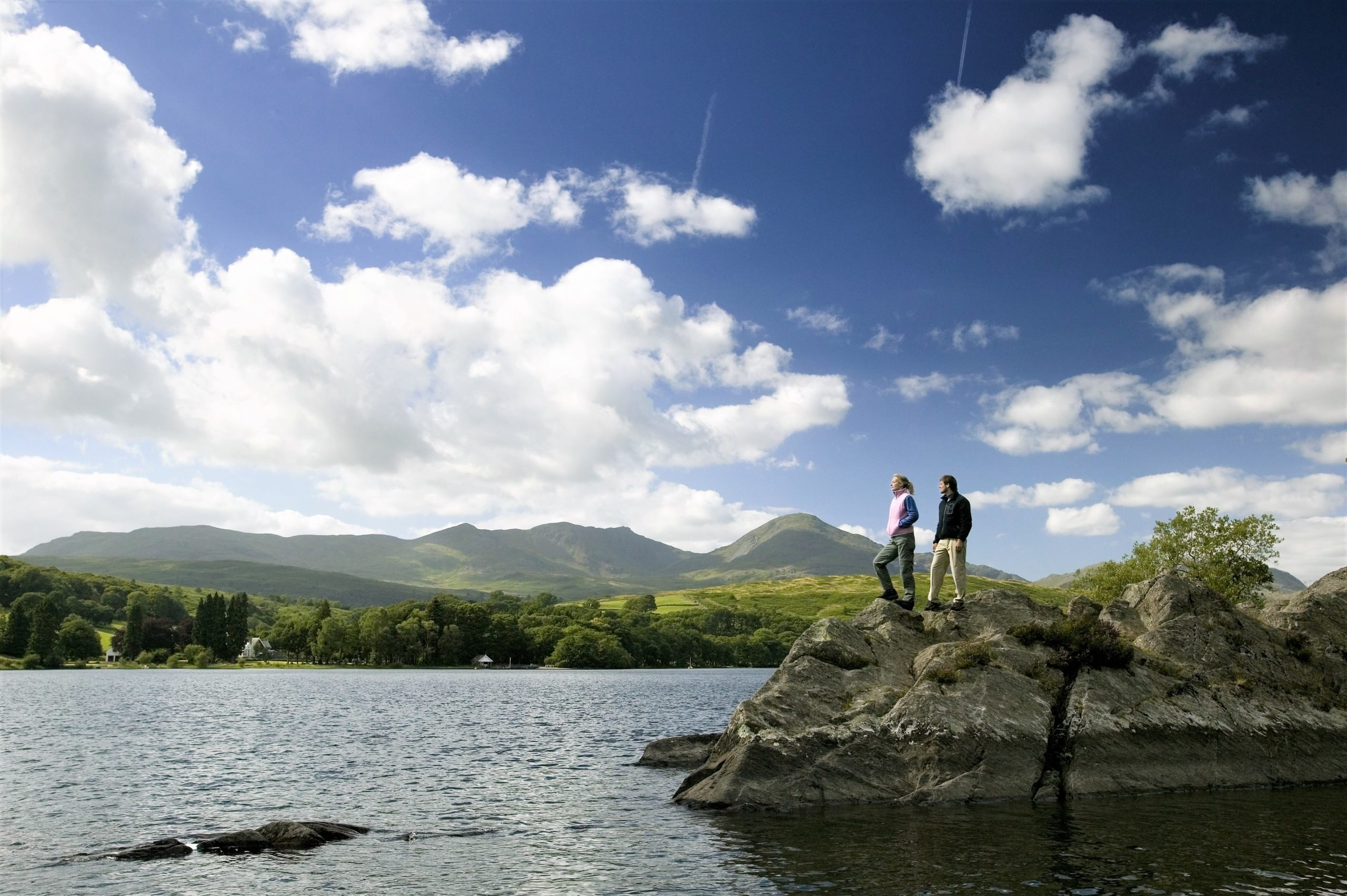 Image of a couple on Peel Island on Coniston Water