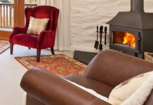 Roaring log fire in the sitting room