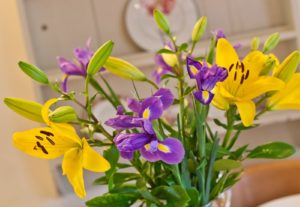 Lovely image of flowers in the dining area